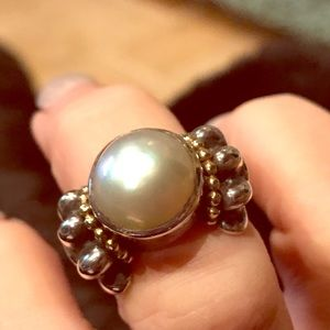 Lagos Pearl ring with silver and gold